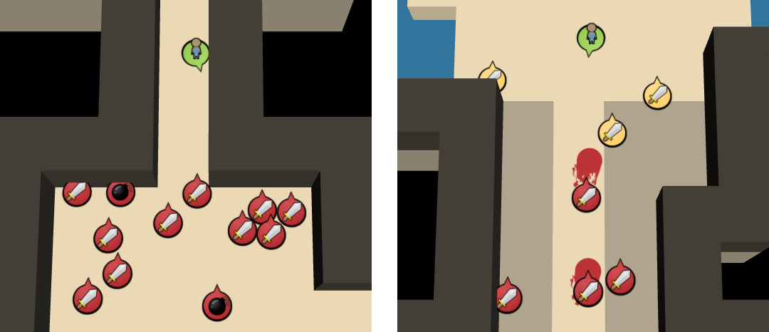 Bombs where implemented to battle the problem of small corridors making the game too predictable