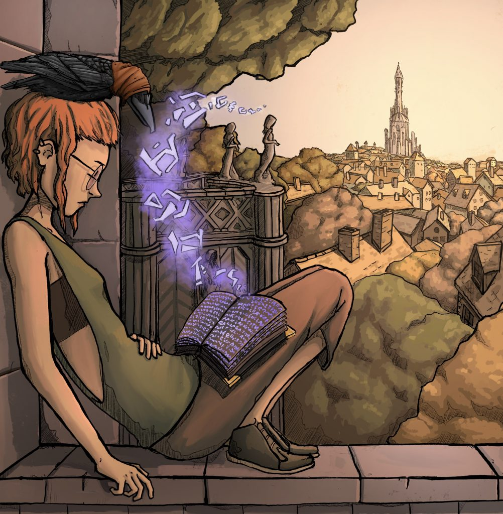 A young witch, studying for her exam at the witch academy.